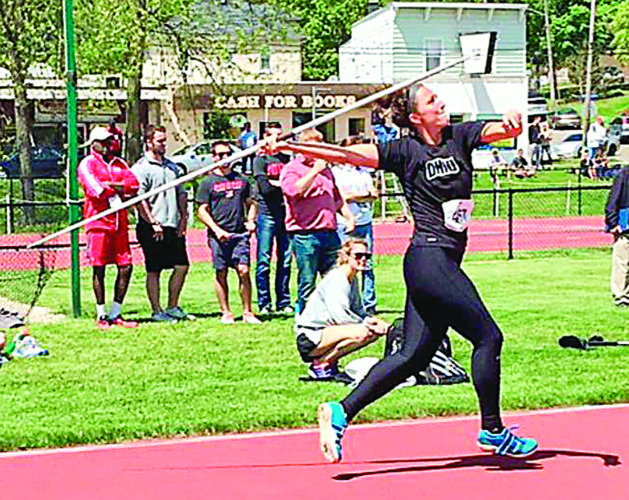 Courtesy photo Ohio University's Emma Ryan throws the javelin during a college track meet last season. A Warren graduate, Ryan was a four-time All-Ohioan in high school.