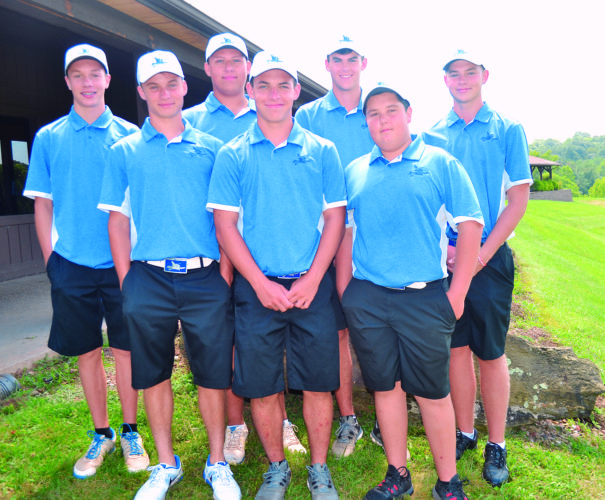 RON JOHNSTON The Marietta Times The Warren golf team poses after 3-peating as Washington County champions Friday at Oxbow Golf Club. Left to right, front row, are Caden Eddy, Cole Fairbanks, and Owen Richardson. In the back row, l to r, are Seth Dennis, Casey Rafferty, Nick Ward, and (unidentified).