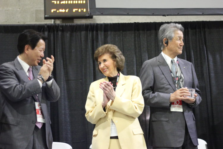 JANELLE PATTERSON   The Marietta Times From left to right, Yoshio Shimo, president and CEO of Hino Motors Limited, Williamstown Mayor Jean Ford and Takashi Ono, president of Hino Motors Manufacturing U.S.A. celebrate the 10th anniversary of the Williamstown plant Tuesday.