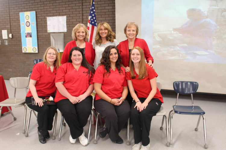 Front row, from left, Melinda McDowell, Celisa Ragalyi, Katie Frederick, Kaitlin Dennis. Back row, program instructors, Tassy Yates, Lisa Pinkerton and Vickie Post.