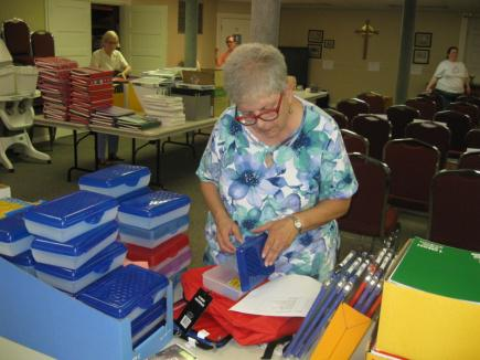 Photos submitted 	Becky Nolt works her way along the assembly line at St. Luke's Lutheran.