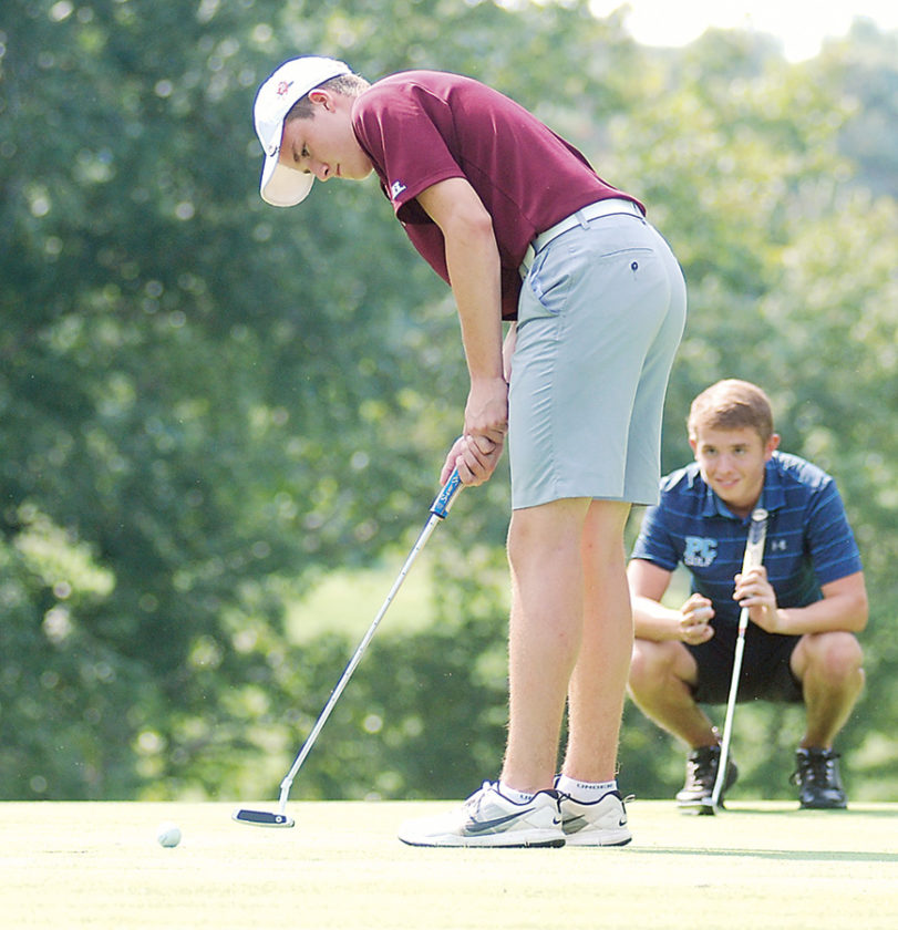 Williamstown's Xavier Caruthers putts during the Little Kanawha Conference Championships Monday at the Golf Club of West Virginia. Caruthers carded a 77 to earn All-LKC honors. Photo by Jordan Holland.
