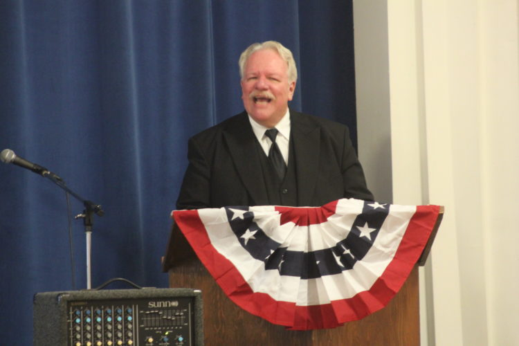 JANELLE PATTERSON   The Marietta Times President William Howard Taft impersonator Greg Hudson, of Cincinnati, provides a reenactment Monday of an address the president gave while on a visit to Marietta in 1910 at the First Congregational Church in Marietta.