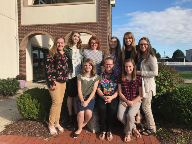 Seated, from left: Hannah Davis, Joyce McSherry and Camryn Irving; standing, from left: Emily Browning, Jillian Shockley, Hannah Headley, Sydney Lewis, Madelyn Goff and Bailey Jackson.