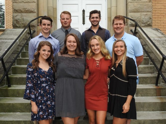 The Williamstown High School Homecoming Court, front row: Emily Pickering, Susan Fauber, Meredith Davis, Skylar Watson; second row: Nate Suprano, Austin Sovil, Isaiah Yeater, Blake Neely.