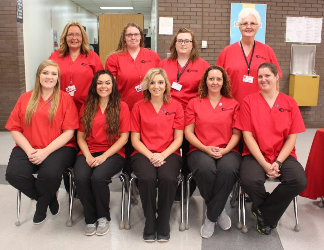 Pictured (left to right): Front row; Sarah Eddy, Lindsay Fulkins, Kendra Ogle, Alice Patterson, Kristin Schebelhood.  Back row; Program instructors, Amy West, Megan Ludwig, Kayla McFee and Denise Humphries.