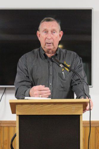 Washington County Sheriff Larry Mincks speaks to the Belpre Rotary Club.