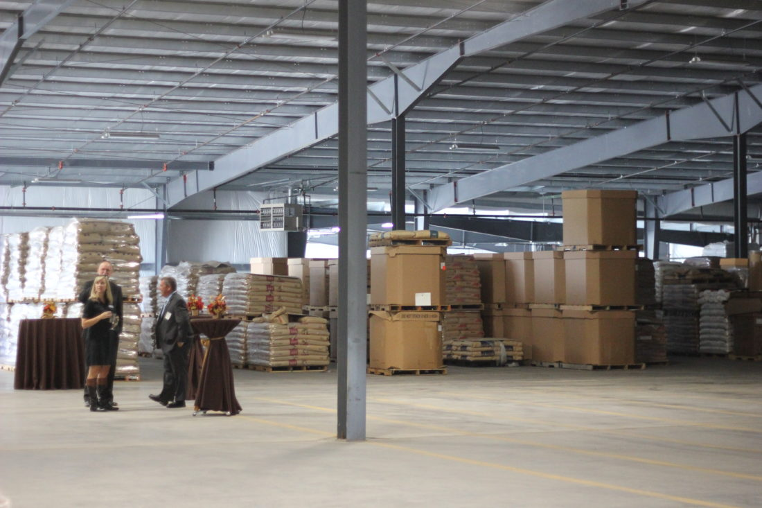 JANELLE PATTERSON   The Marietta Times Carrie Ankrom and Matt Evans are given a tour of Keystone Warehousing by ARC Vice President Mike Hukill, right,  on Monday.