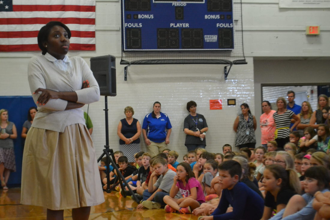 """MICHAEL KELLY   The Marietta Times """"You never forget the first time you go to jail,"""" said Justine Appiah-Danquah to open a segment of the musical play """"Freedom Riders,"""" about the Civil Rights movement, performed at Warren Middle School by the Mad River Theater touring company Monday afternoon."""