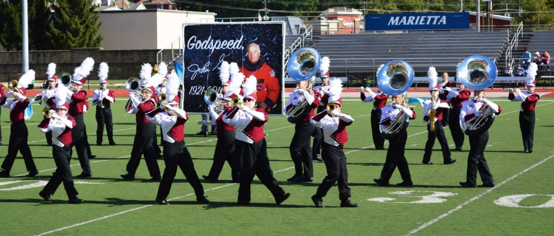 """DOUG LOYER  Special to the Times The John Glenn High School's marching band honored its namesake John Glenn with their """"Godspeed, John Glenn"""" performance."""