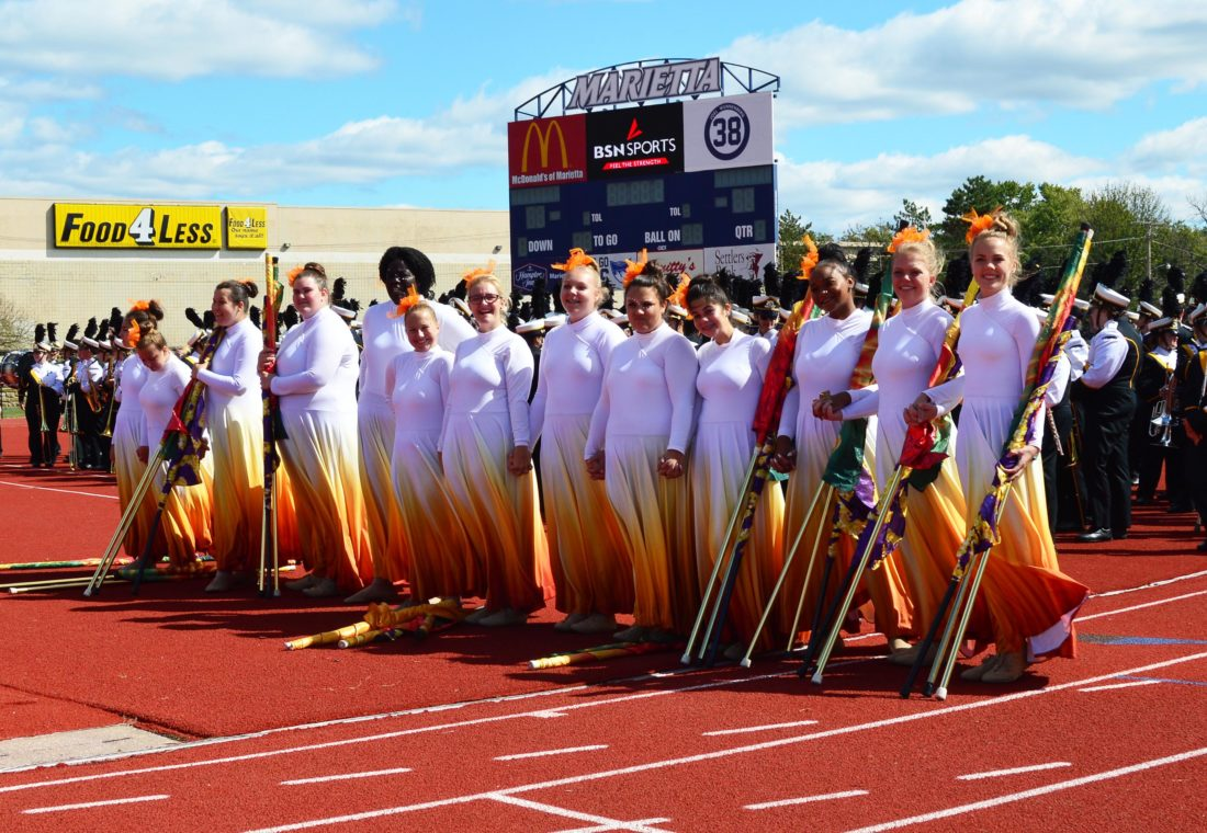 Perry High School's color guard gathers before the awards ceremony.
