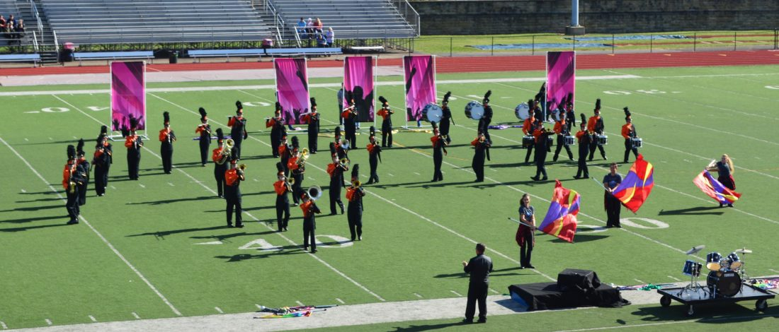 """The Belpre High School Golden Eagles Marching Band performs """"A Tribute to Journey."""""""
