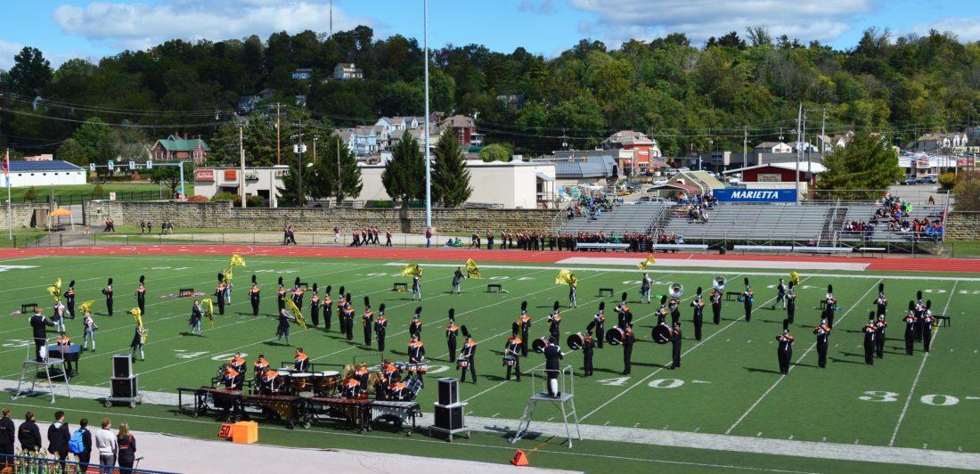 "Marietta High School's ""Wall of Sound"" performs in exhibition at Don Drumm Stadium."