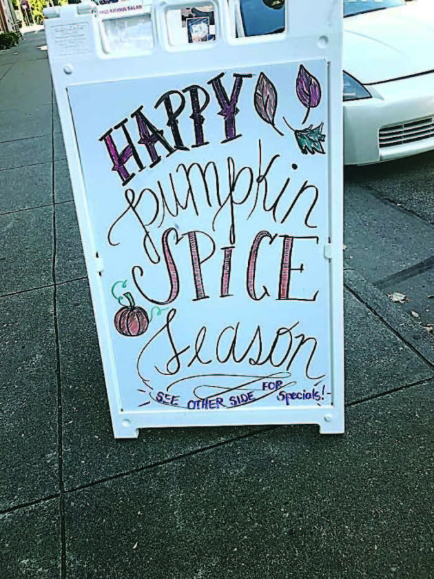JANELLE PATTERSON    The Marietta Times Pumpkin spice season is heralded outside of Jeremiah's Coffee House in Marietta.