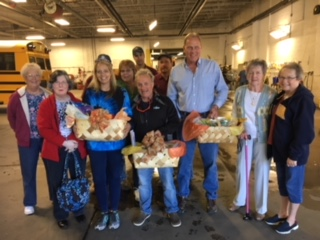 For the month of October, the churches of the Mid Ohio Valley Parish, Disciples of Christ, brought homemade goodies to the Wood County Bus Barn in appreciation for their work with the kids. We will be praying for them every day for safety and sanity. Pictured, Nellie Beardmore, Cheri Logan, Delores Miller, Susie Holmes from the MOV Parish. And Wood County employees: Amy Young, Pat Sole, Richard Lance, Barb McVey, Robb Murphy and back row Aaron Kaufman and Henry Gates.
