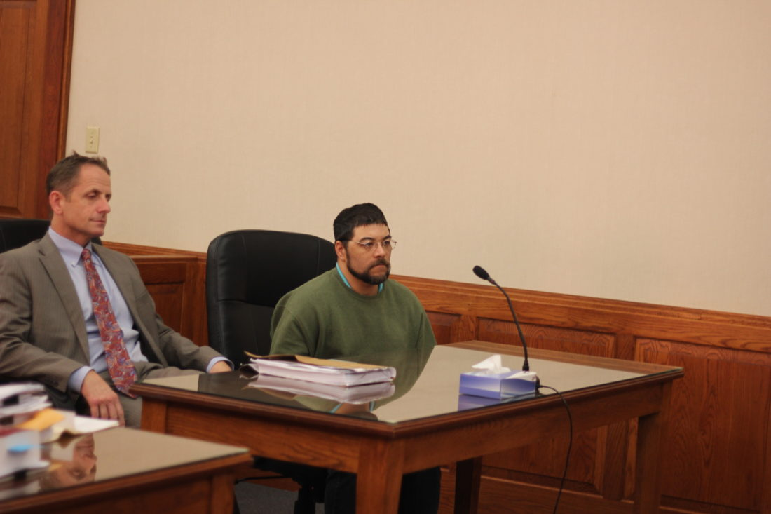 JANELLE PATTERSON   The Marietta Times Christopher Reese, (right) 39, of 728 Second St., Marietta, appears for a competency hearing in Washington County Common Pleas Court Tuesday.