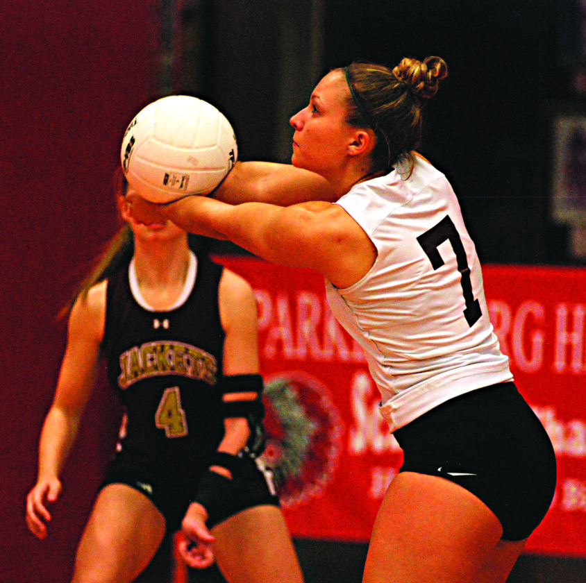 JAY W. BENNETT The Marietta Times Williamstown's Skylar Watson (7) gets her hands on the ball during a high school volleyball match against Wheeling Park Wednesday at Memorial Fieldhouse.