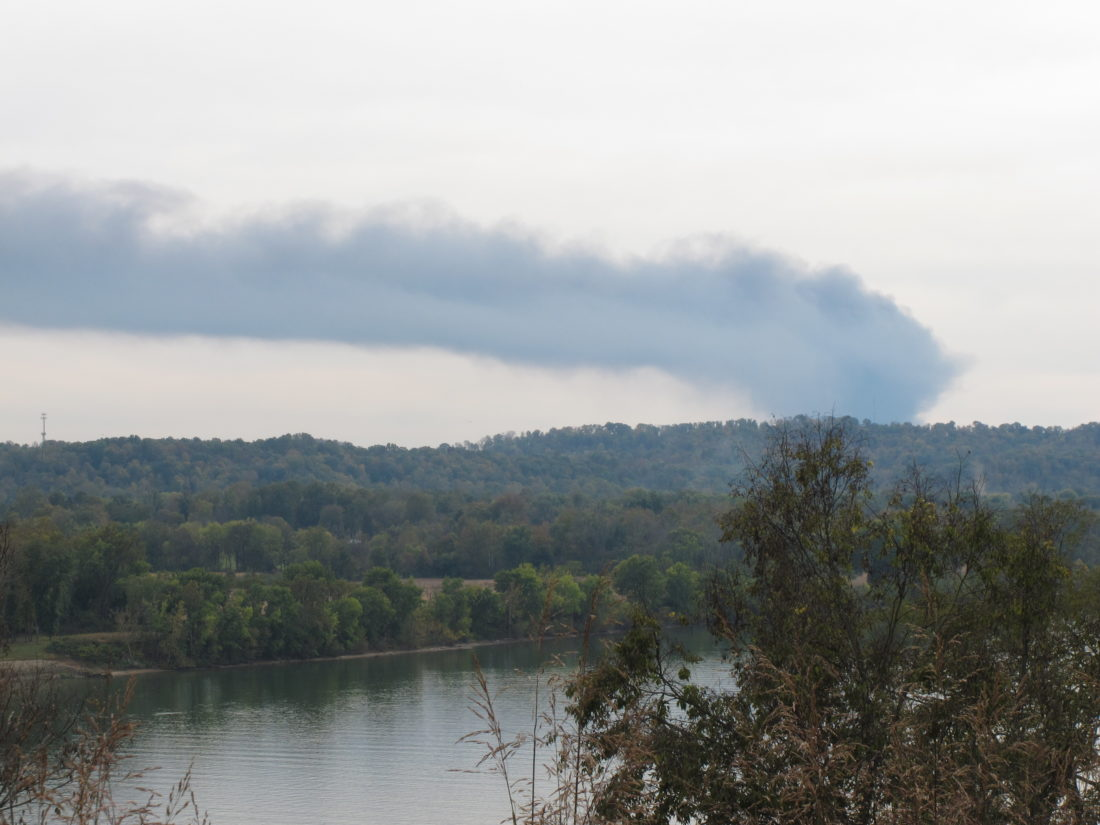 Photo by Jess Mancini The smoke plume from the former Ames Plant as seen from the scenic overlook south of Marietta on Ohio 7.
