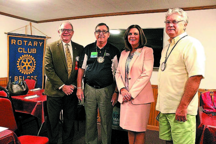 Pictured are, from left: Dr. Mark Nutter, Washington State Community College vice-president for academic affairs; Larry Arnold, Belpre Rotary president; Dr. Vicky Wood, Washington State Community College president, and Rotarian Bob Rauch.