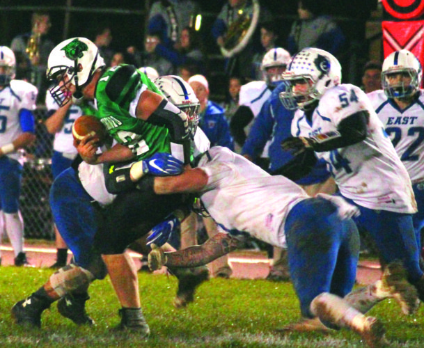 Photo courtesy of Patti Miller Waterford's Peyten Stephens (12) carries the ball during a high school football Division VII, Region 27 quarterfinal against Sciotoville East Friday night. Sciotoville East won, 16-8
