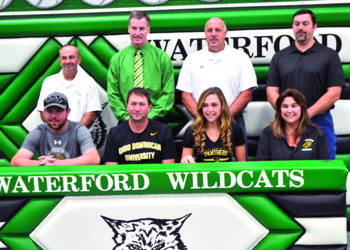 RON JOHNSTON The Marietta Times Waterford senior Alli Kern signed a National Letter of Intent to play college basketball at Ohio Dominican University Monday at the Harry Cooper Annex in Waterford. Sitting from left to right are Luke Kern (brother), Dan Kern (father), Alli, and Cindy Kern (mother). Standing, left to right, are Waterford assistant Kevin McCutcheon, assist Todd Hilverding, head coach Jerry Close, and AAU coach Jeff Smith.