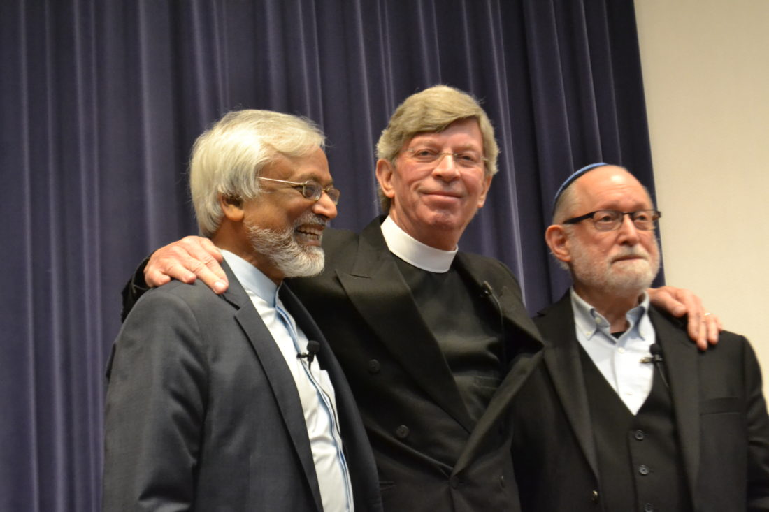 MICHAEL KELLY   The Marietta Times The Interfaith Amigos (left to right) — Imam Jamal Rahman, Pastor Don Mackenzie and Rabbi Ted Falcon — spoke, laughed and even sang to a group of about 300 people in the Alma McDonough Auditorium at Marietta College. The trio came after being invited by a local interfaith committee and will appear again Saturday at 10 a.m. in the Great Room at Andrews Hall for an interfaith workshop.