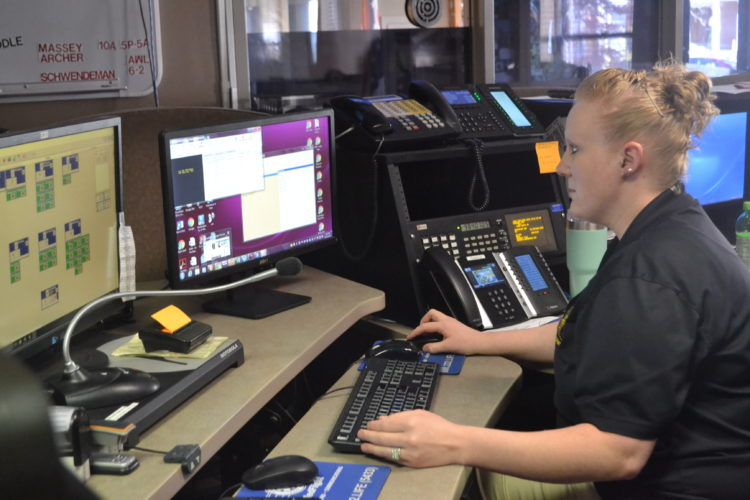 ERIN O'NEILL  The Marietta Times Dispatcher Anna Haugh with the Washington County Sheriff's Office uses the new NexGen 911 digital system to keep track of emergency calls on Tuesday.  The second phase of the system will go into effect after the new year and will allow for the public to text 911.
