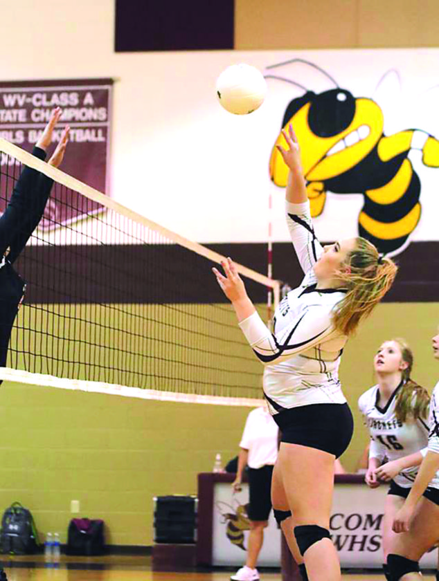 Williamstown hitter Bethany Arnold attempts to spike the ball during a high school volleyball match this season. Arnold and teammate Skylar Watson, a senior, represented the Yellowjackets on the All-Little Kanawha Conference first team.  Photo by Michael Uhl