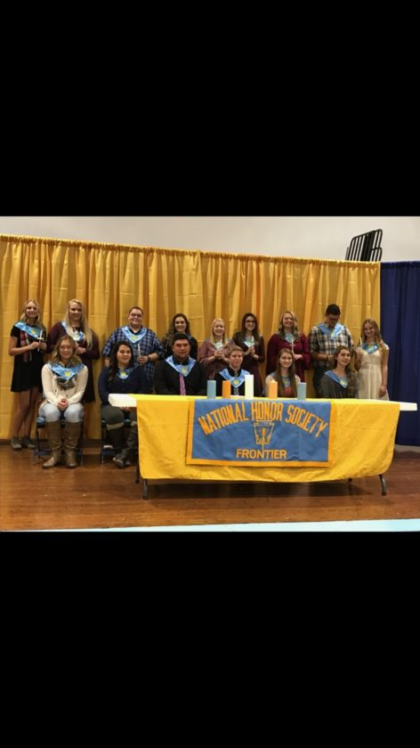 2017-18 Frontier High School National Honor Society. Front row, left to right: Returning members Kylie Daugherty, Alisia Winstanley, Brent West, Ryan Lamp, Alexis Scadden and Samantha Farnsworth. Back row, left to right: New inductees Sophia Brown, Abby Eddy, Jared Farnsworth, Katen Petty, Izzy Rinard, Katie Rinard, Kylie Ruble, Ashton Rush and Kristen Winstanley.