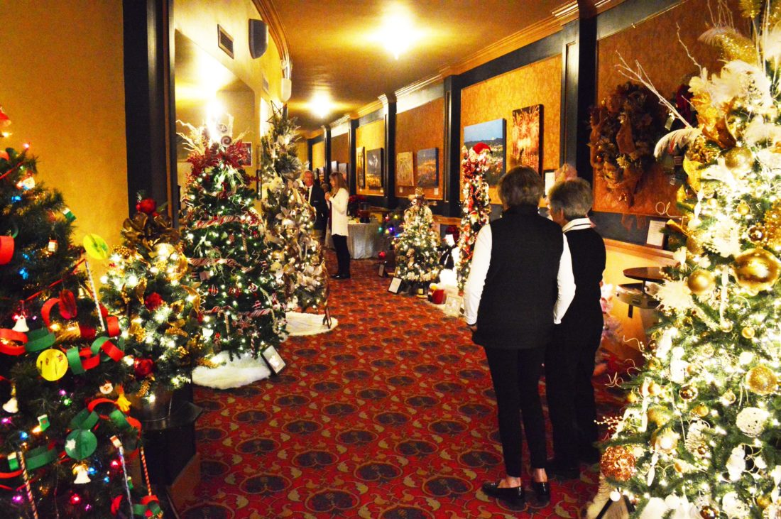 Doug Loyer Special to the Times Nineteen decorated Christmas trees and wreaths on display for auction at the Peoples Bank Theatre.