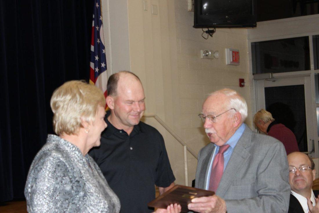 """Business of the Year Award"" (Joy Exterminators) Pictured L to R:  Mrs. George Joy, Steve Joy, Jack Haessly."