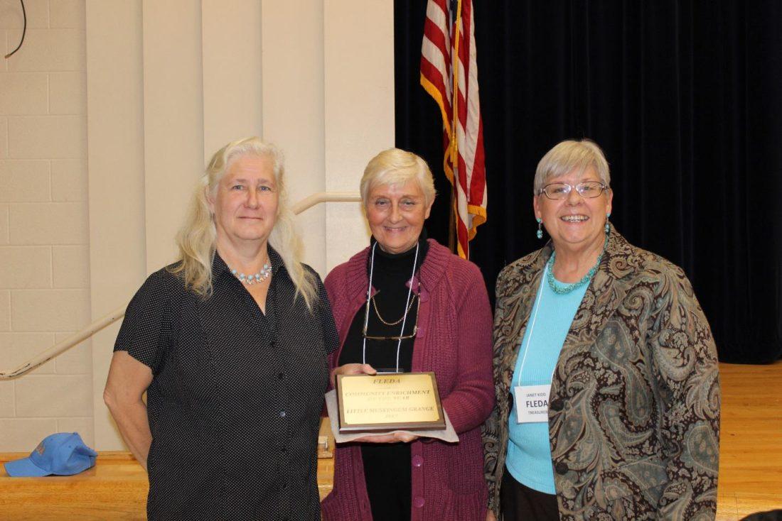 """Community Enrichment Award"" (Little Muskingum Grange) Pictured L to R:  Carmen Kramer, Gerry Spencer, Janet Kidd."