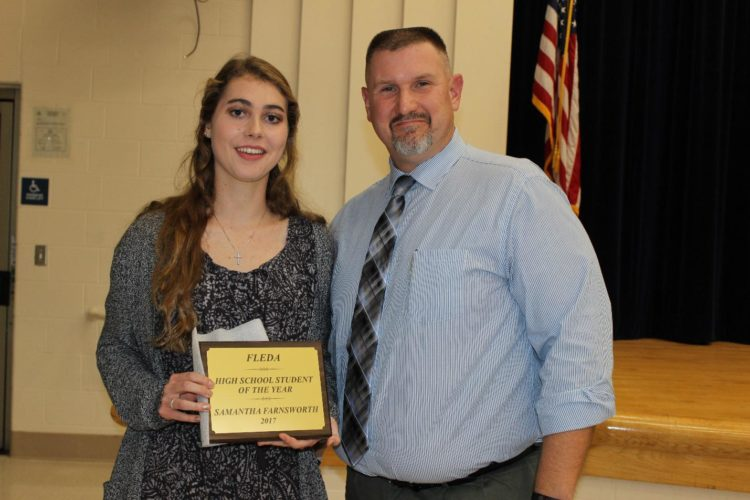 """Frontier High School Student of the Year Award"" (Samantha Farnsworth) Pictured L to R:  Samantha Farnsworth, Todd Bradford."