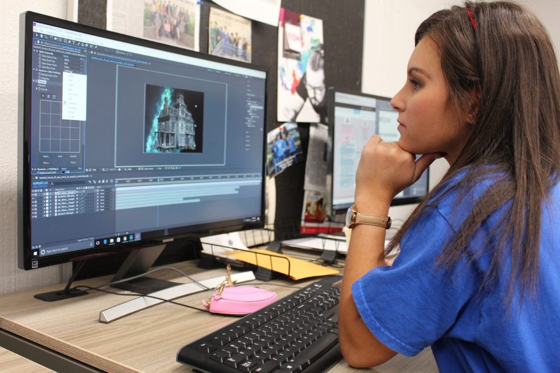 Photo courtesy of the Washington County Career Center Chianna Eddy studies video production on a computer at the Washington County Career Center.