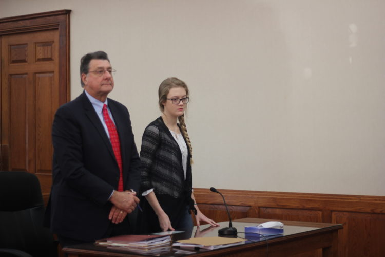Attorney George Cosenza, left, appears in Washington County Common Pleas Court Wednesday with his client Kaitlyn Barton, right, who stands accused of vehicular homicide.  JANELLE  PATTERSON   The Marietta Times
