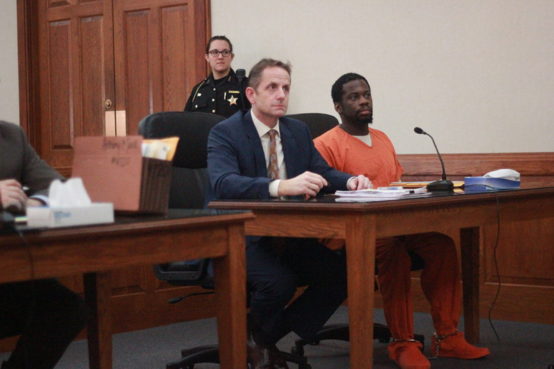 JANELLE PATTERSON   The Marietta Times Anthony Mack, right, appears in Judge Mark Kerenyi's court Wednesday for sentencing with his lawyer Rolf Baumgartel.