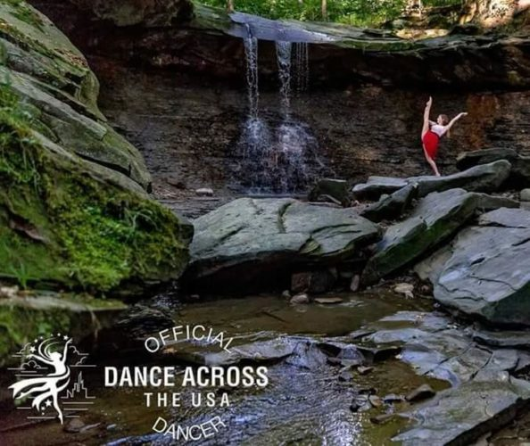 "Photo submitted Chloe Stevens dances on rocks at Cuyahoga National Park last September as part of a photo shoot for ""Dance Across the USA."""
