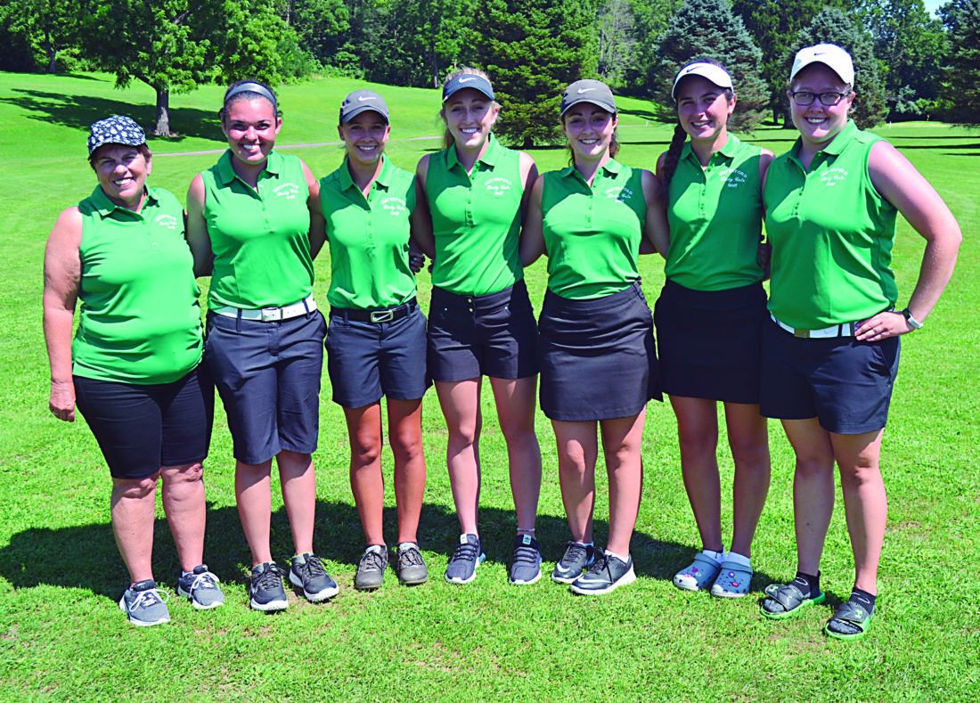 RON JOHNSTON The Marietta Times Waterford girls golf coach Cris Baker, far left, is pictured after the Wildcats won the 2017 Waterford Invitational at Lakeside Golf Course in Beverly. Baker was named the 2017 Ohio Girls Golf Coach of the Year.
