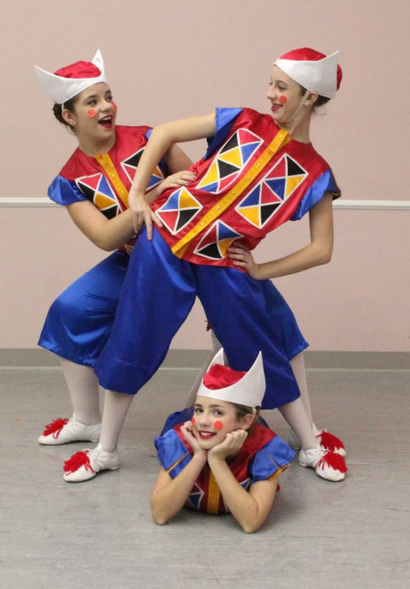 """Photo provided Playing the Punchinelles (Clowns) in Act 1 of Schrader Youth Ballet's 2017 production of """"The Nutcracker (Clara's Dream)"""" are Arwen Chambers, Serenity Sprouse and Nora Augenstein."""