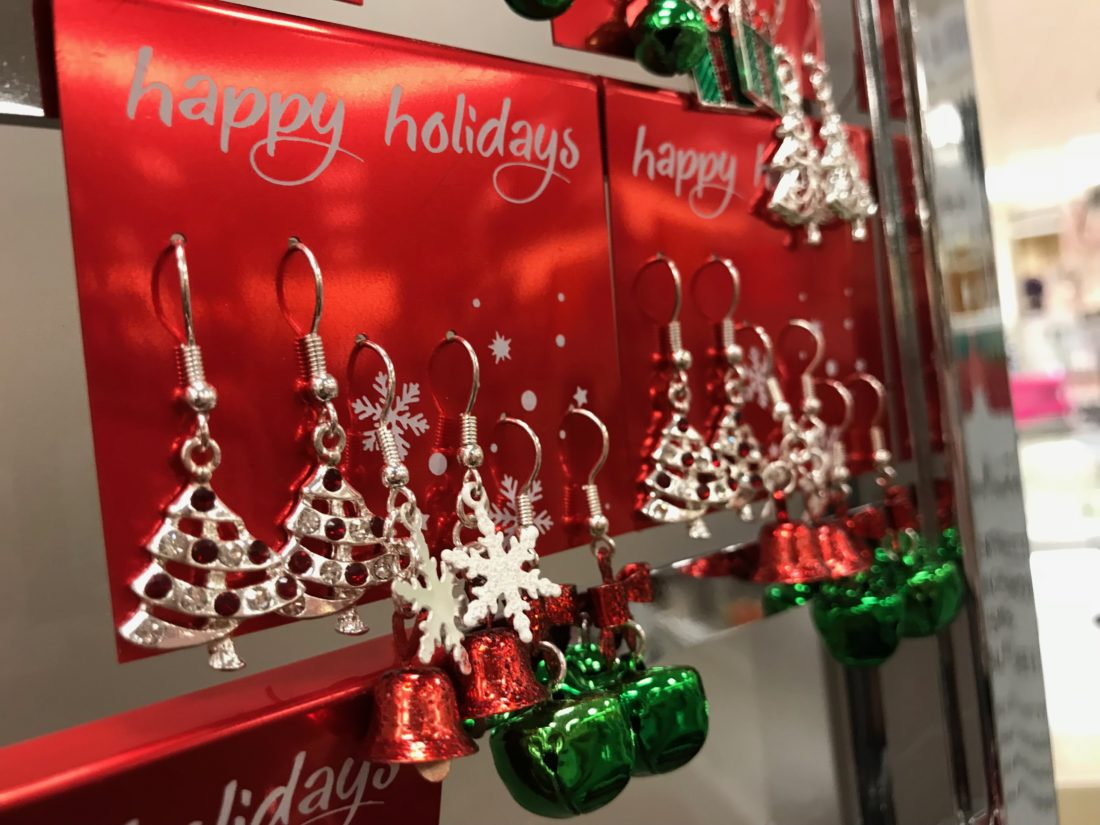 JANELLE PATTERSON   The Marietta Times Easy stocking stuffers for family members include holiday-themed jewelry or other items found around town this week, like these at Peebles.