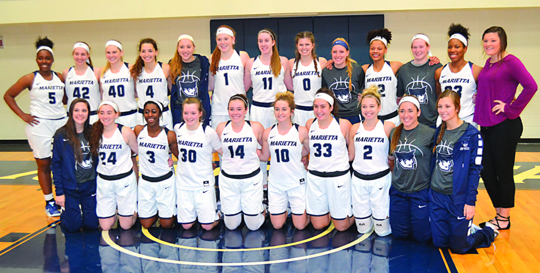 RON JOHNSTON The Marietta Times The Marietta College women won their ninth straight game to open the season Tuesday at Ban Johnson Arena, setting a new program record.