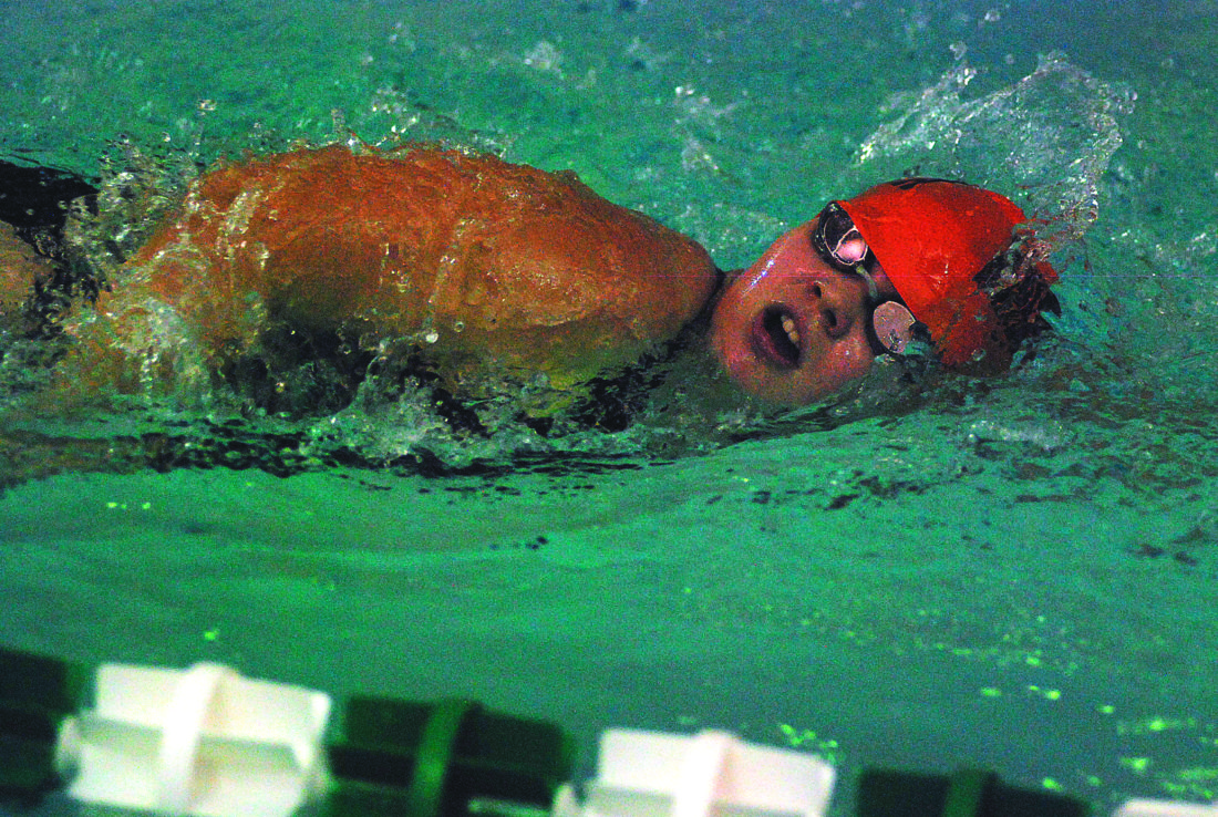 JAY W. BENNETT The Marietta Times Marietta High School senior Alicen Teer finished runner-up with a time of 1:04.48 in the 100 freestyle during Wednesday's dual swim meet at the Parkersburg YMCA.