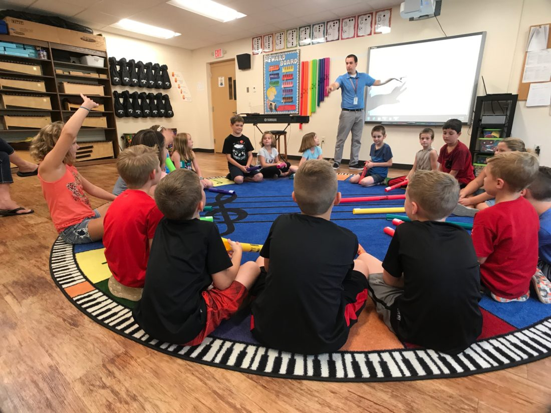 JANELLE PATTERSON The Marietta Times Steve Brown teaches music to students at Putnam Elementary earlier this school year. The school stands to be affected as part of a sweeping change being proposed by Marietta City Schools to reorganize elementary education.