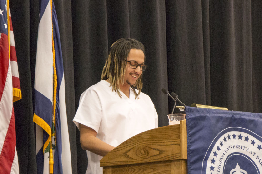 Daniel Thomas speaks during West Virginia University at Parkersburg's annual fall nursing pinning ceremony Dec. 9 in the College Activities Center.