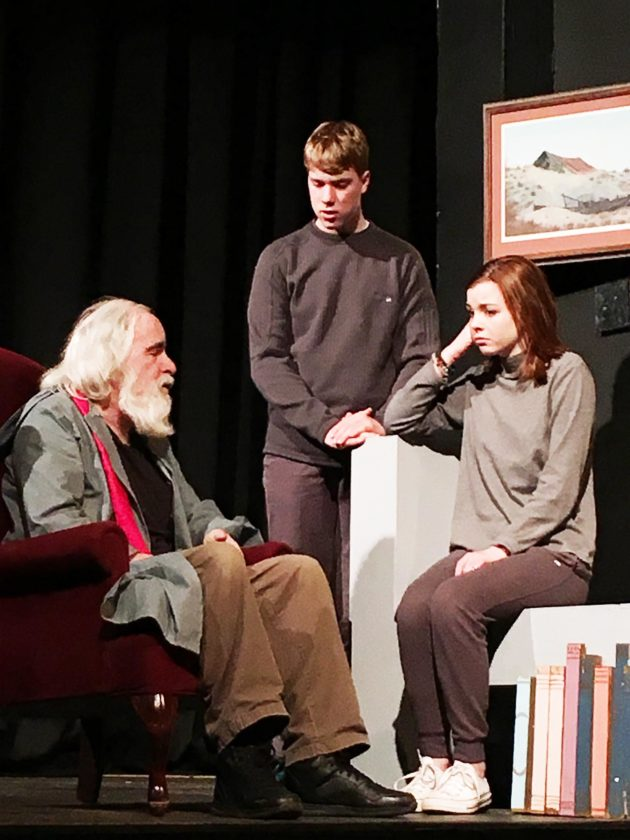 """Photo submitted Julianna Stephens, right, rehearses a scene from the MOVP production of """"The Giver"""" last year."""