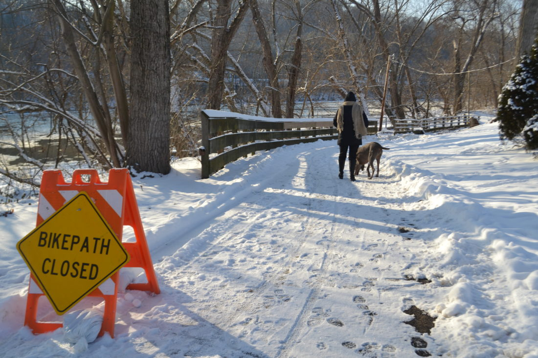 MICHAEL KELLY   The Marietta Times  Parts of the River Trail along the Marietta waterfront have been closed after the Muskingum River rose during cold weather and left masses of ice along it.