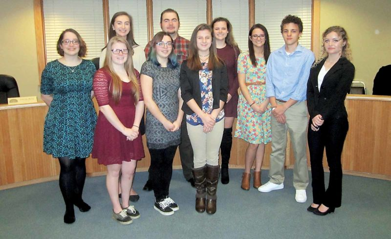 Wayne Towner   Special to the Times Belpre High School students participated in Student Government Day on Monday for the city of Belpre, shadowing elected officials, council members and department heads. The students were, front from left, Kaitlin Richards, Nicole Berg and Trinity Daugherty, and back from left, Elizabeth Cockerham, Katie Foster, Tristen Lockhart, Briah Kerns, Abbee Kapple, Malcolm Striblin and Gabby Blaschke.