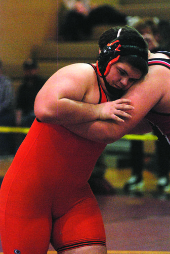JAY W. BENNETT The Marietta Times Marietta Ethan Prather competes against Weir's Jordan Brueck in a 285-pound Bob Zide Rumble championship match Saturday at Williamstown High. Brueck won by fall in the third period.