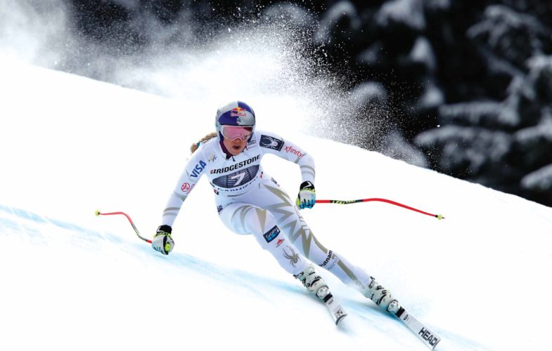 File-This Feb. 4, 2018, file photo shows United States' Lindsey Vonn competing during an alpine ski, women's world Cup downhill race, in Garmisch Partenkirchen, Germany. The Olympic speed courses at Jeongseon were raced just once on each World Cup circuit. In the womenÕs test race last year, Sofia Goggia of Italy beat  Vonn on a slightly different course setting. (AP Photo/Gabriele Facciotti, File)