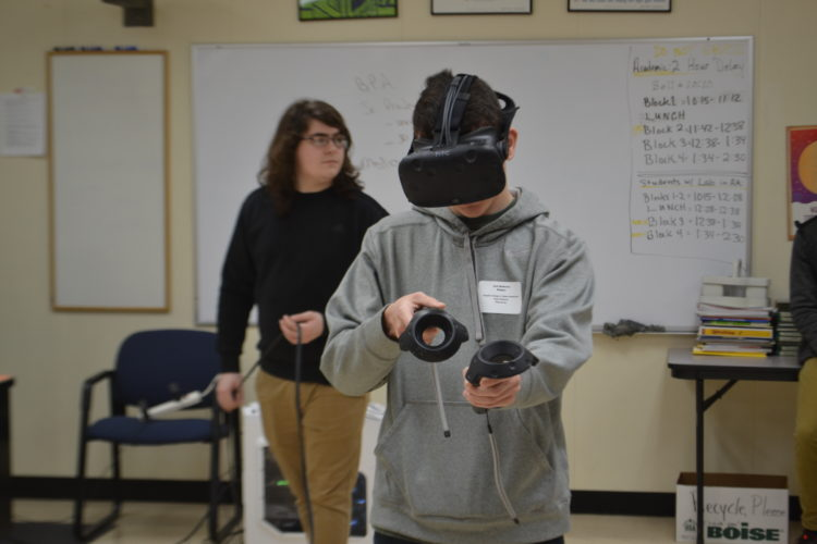 MICHAEL KELLY   The Marietta Times A student in the Hands On Tour for Sophomores held Tuesday at the Washington County Career Center tries out the virtual reality equipment in the center's program for graphic design and video production.
